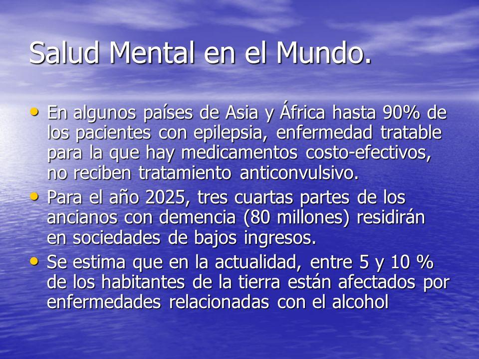Salud Mental en el Mundo. En algunos países de Asia y África hasta 90% de los pacientes con epilepsia, enfermedad tratable para la que hay medicamento