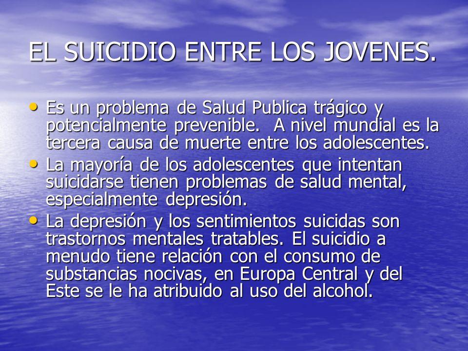 EL SUICIDIO ENTRE LOS JOVENES. Es un problema de Salud Publica trágico y potencialmente prevenible. A nivel mundial es la tercera causa de muerte entr