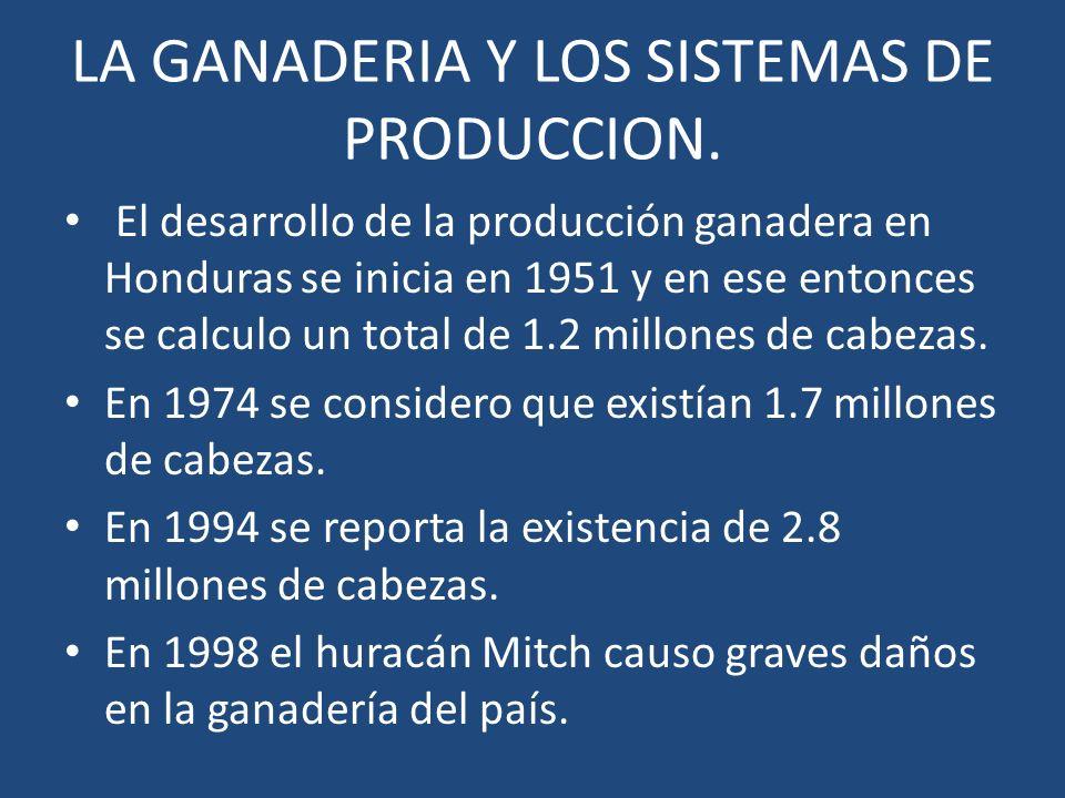 LA GANADERIA Y LOS SISTEMAS DE PRODUCCION. El desarrollo de la producción ganadera en Honduras se inicia en 1951 y en ese entonces se calculo un total