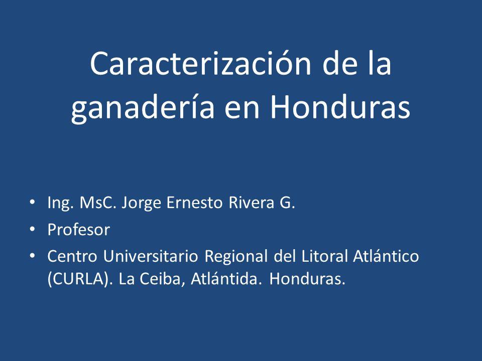 Caracterización de la ganadería en Honduras Ing. MsC. Jorge Ernesto Rivera G. Profesor Centro Universitario Regional del Litoral Atlántico (CURLA). La