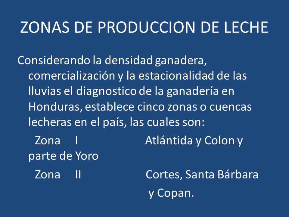 ZONAS DE PRODUCCION DE LECHE Considerando la densidad ganadera, comercialización y la estacionalidad de las lluvias el diagnostico de la ganadería en