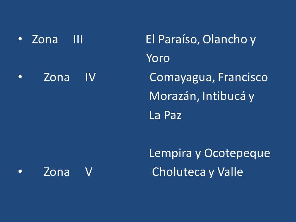 Zona III El Paraíso, Olancho y Yoro Zona IV Comayagua, Francisco Morazán, Intibucá y La Paz Lempira y Ocotepeque Zona V Choluteca y Valle