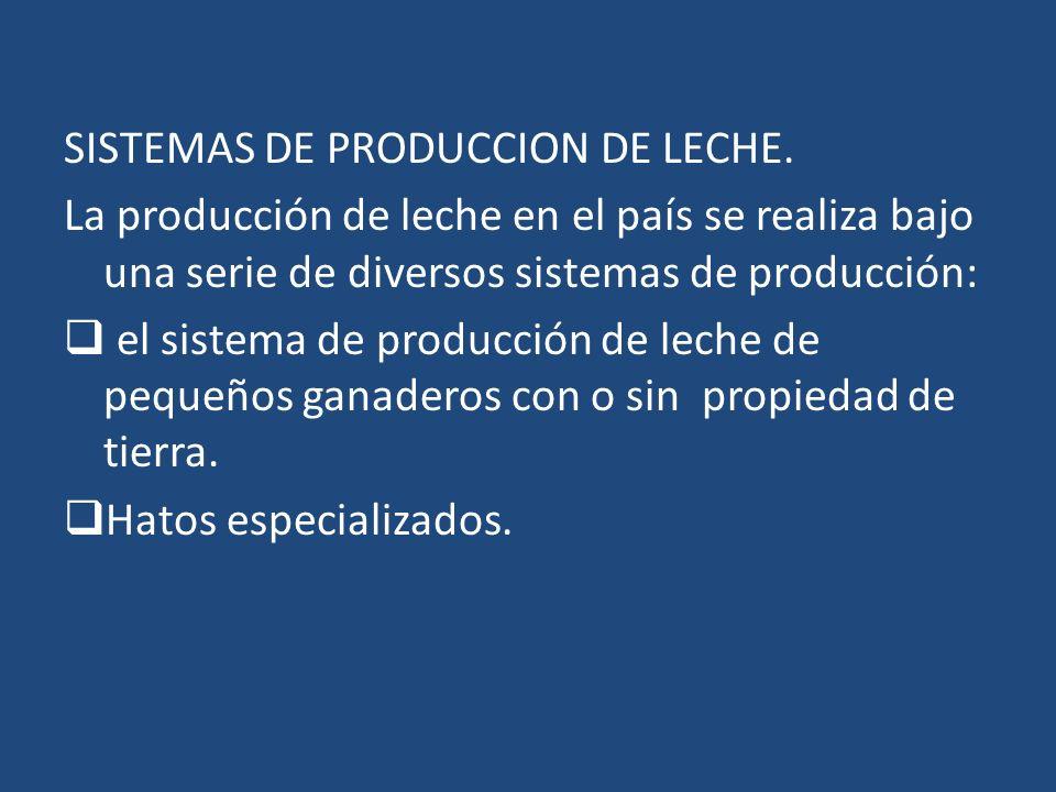 SISTEMAS DE PRODUCCION DE LECHE. La producción de leche en el país se realiza bajo una serie de diversos sistemas de producción: el sistema de producc