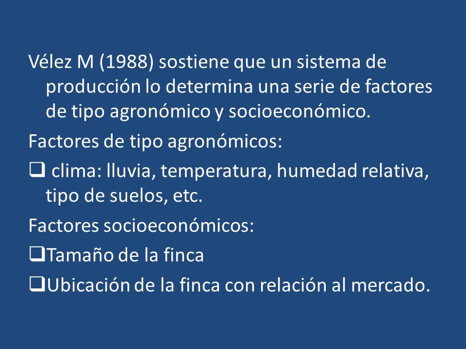 Vélez M (1988) sostiene que un sistema de producción lo determina una serie de factores de tipo agronómico y socioeconómico. Factores de tipo agronómi
