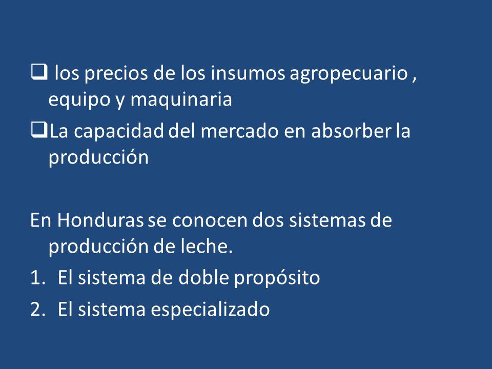 los precios de los insumos agropecuario, equipo y maquinaria La capacidad del mercado en absorber la producción En Honduras se conocen dos sistemas de