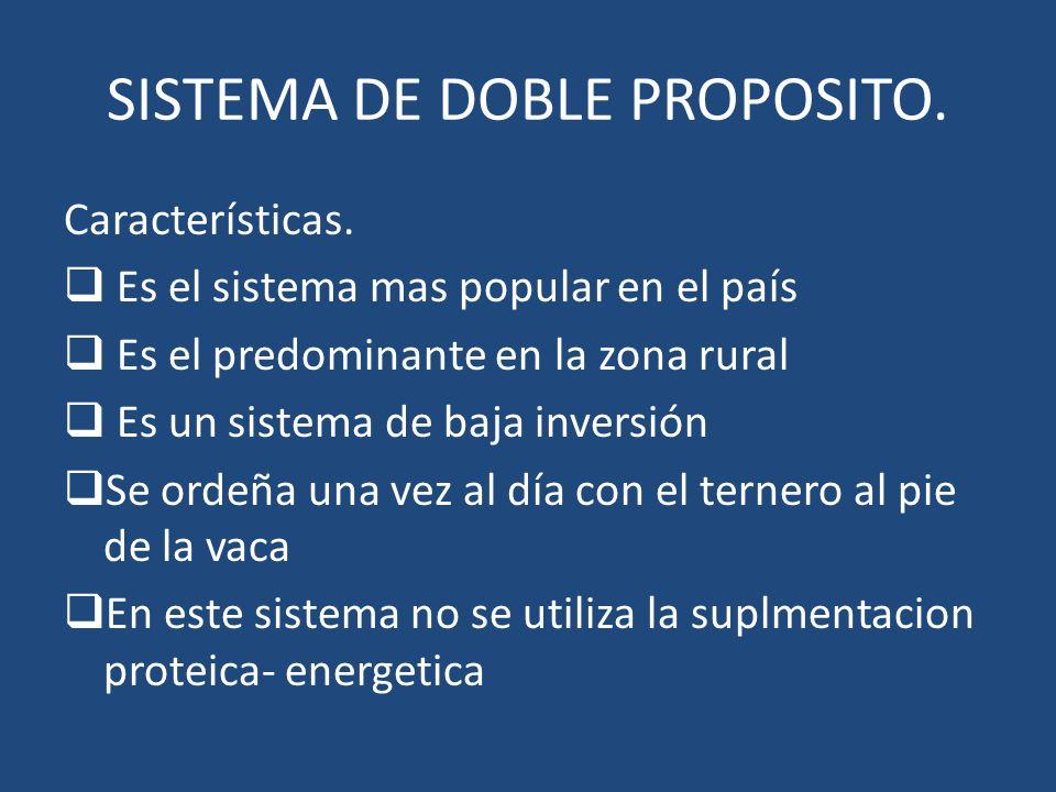 SISTEMA DE DOBLE PROPOSITO. Características. Es el sistema mas popular en el país Es el predominante en la zona rural Es un sistema de baja inversión