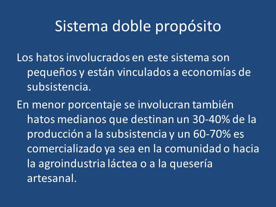 Sistema doble propósito Los hatos involucrados en este sistema son pequeños y están vinculados a economías de subsistencia. En menor porcentaje se inv