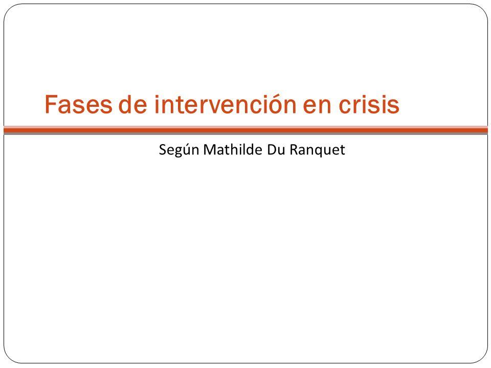 Fases de intervención en crisis Según Mathilde Du Ranquet