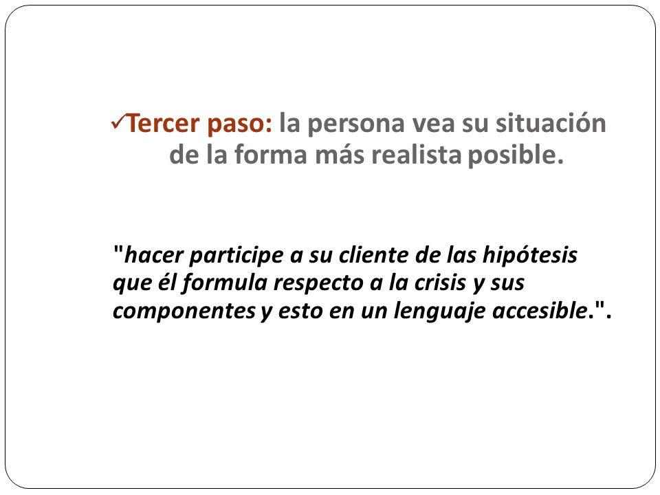 Tercer paso: la persona vea su situación de la forma más realista posible.