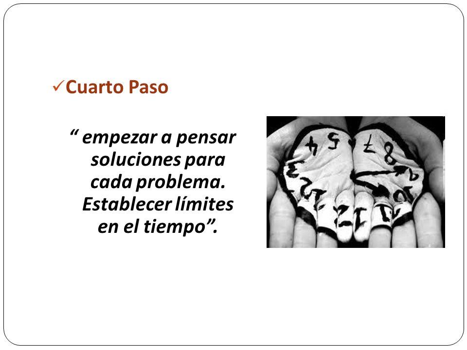 Cuarto Paso empezar a pensar soluciones para cada problema. Establecer límites en el tiempo.