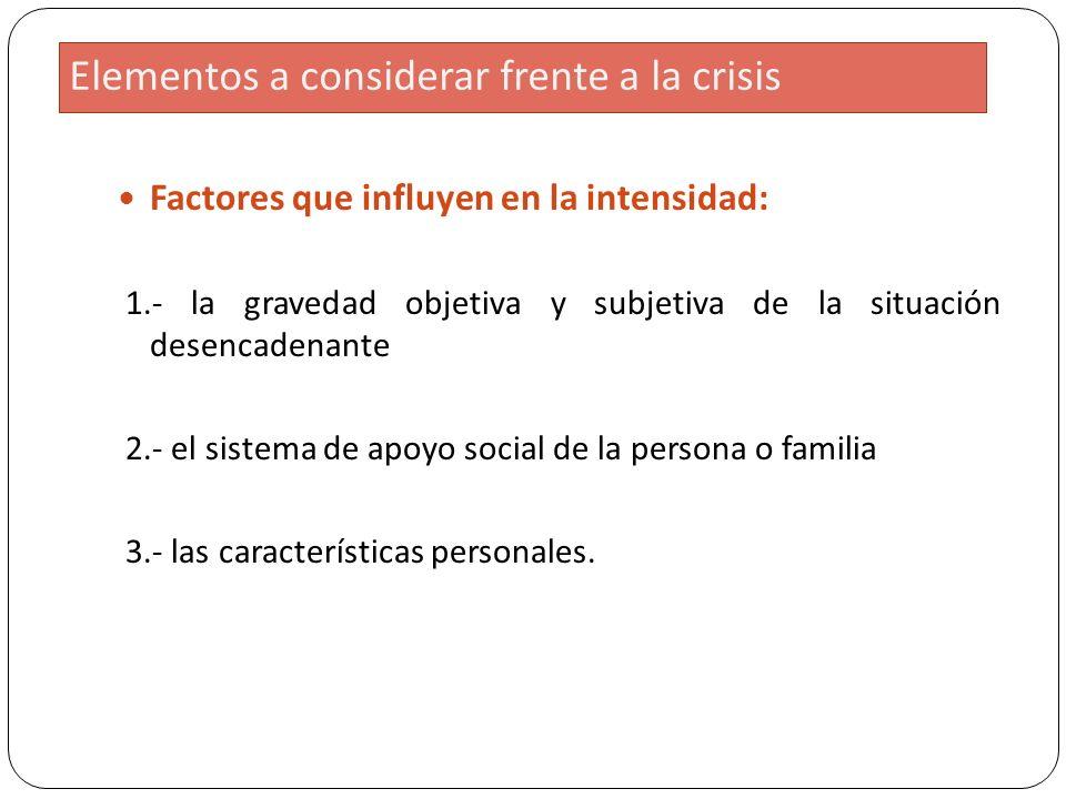 Elementos a considerar frente a la crisis Factores que influyen en la intensidad: 1.- la gravedad objetiva y subjetiva de la situación desencadenante