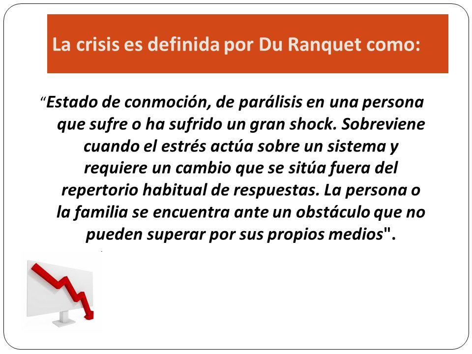 La crisis es definida por Du Ranquet como: Estado de conmoción, de parálisis en una persona que sufre o ha sufrido un gran shock. Sobreviene cuando el