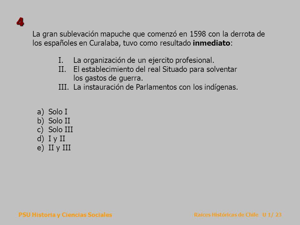 PSU Historia y Ciencias Sociales Raíces Históricas de Chile U 1/ 23 La gran sublevación mapuche que comenzó en 1598 con la derrota de los españoles en