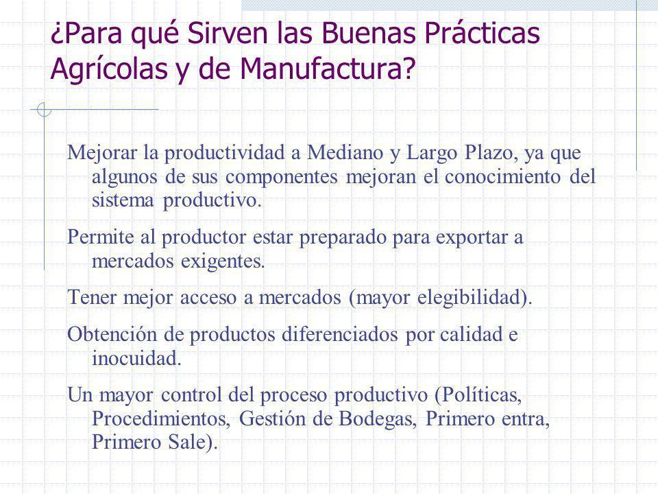 Buenas Prácticas Las Buenas Prácticas Agrícolas y de Manufactura (BPA y BPM) se han desarrollado por una mayor exigencia de los consumidores al moment