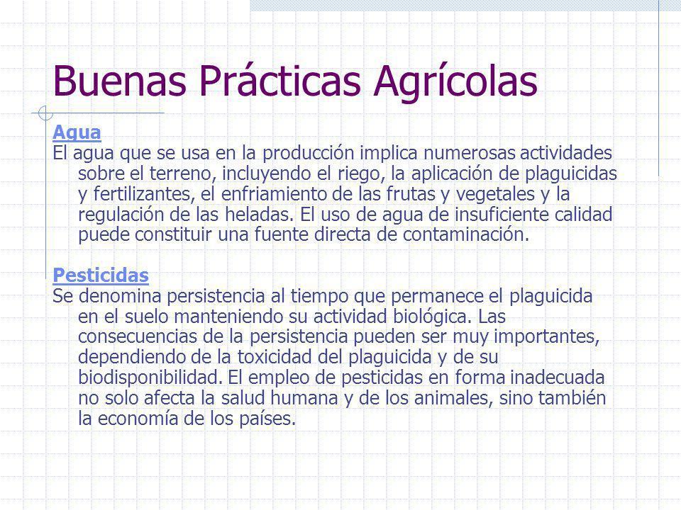 Buenas Prácticas Agrícolas Terreno Establecer usos previos y actuales del terreno de cultivo para identificar potenciales fuentes de contaminación. Un