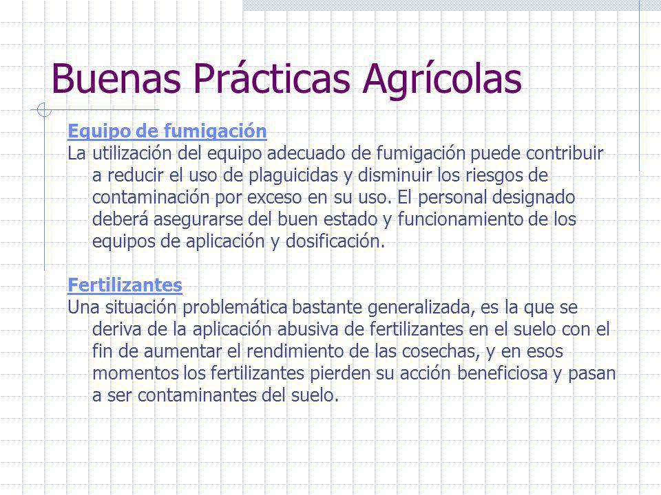Buenas Prácticas Agrícolas Agua El agua que se usa en la producción implica numerosas actividades sobre el terreno, incluyendo el riego, la aplicación