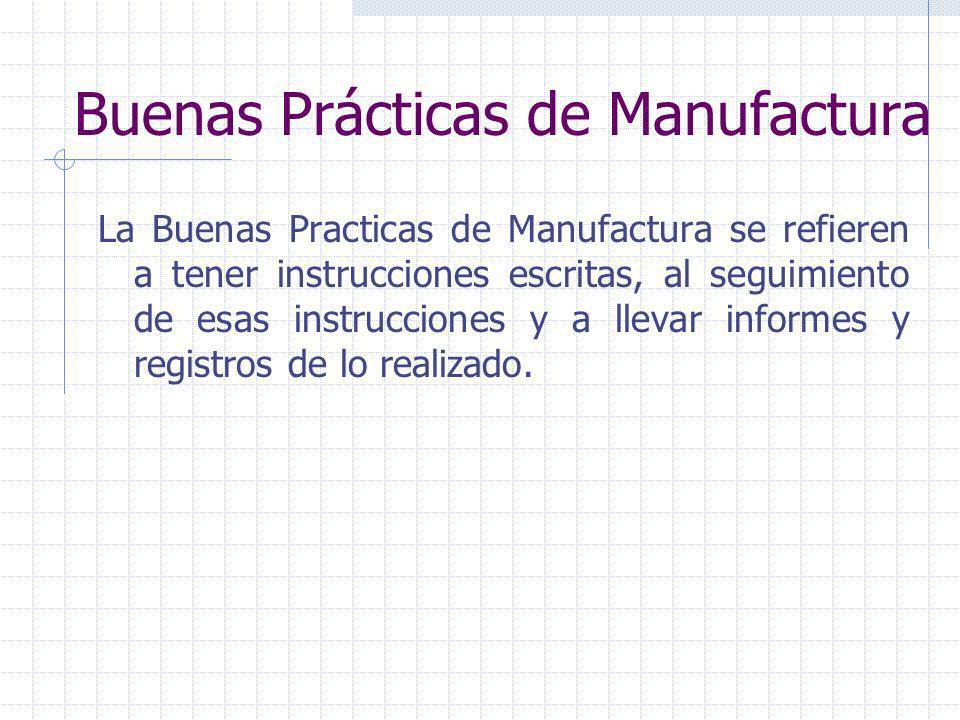 Buenas Prácticas de Manufactura Son los procedimientos necesarios para lograr alimentos inocuos, saludables y sanos. Normas que definen las acciones d