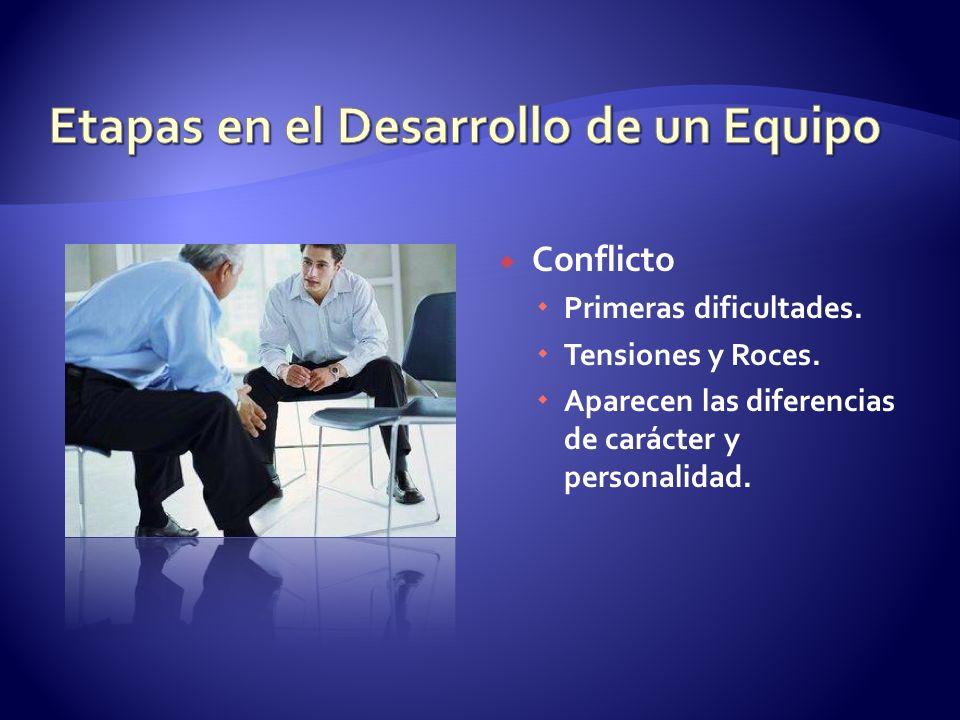 Conflicto Primeras dificultades. Tensiones y Roces. Aparecen las diferencias de carácter y personalidad.