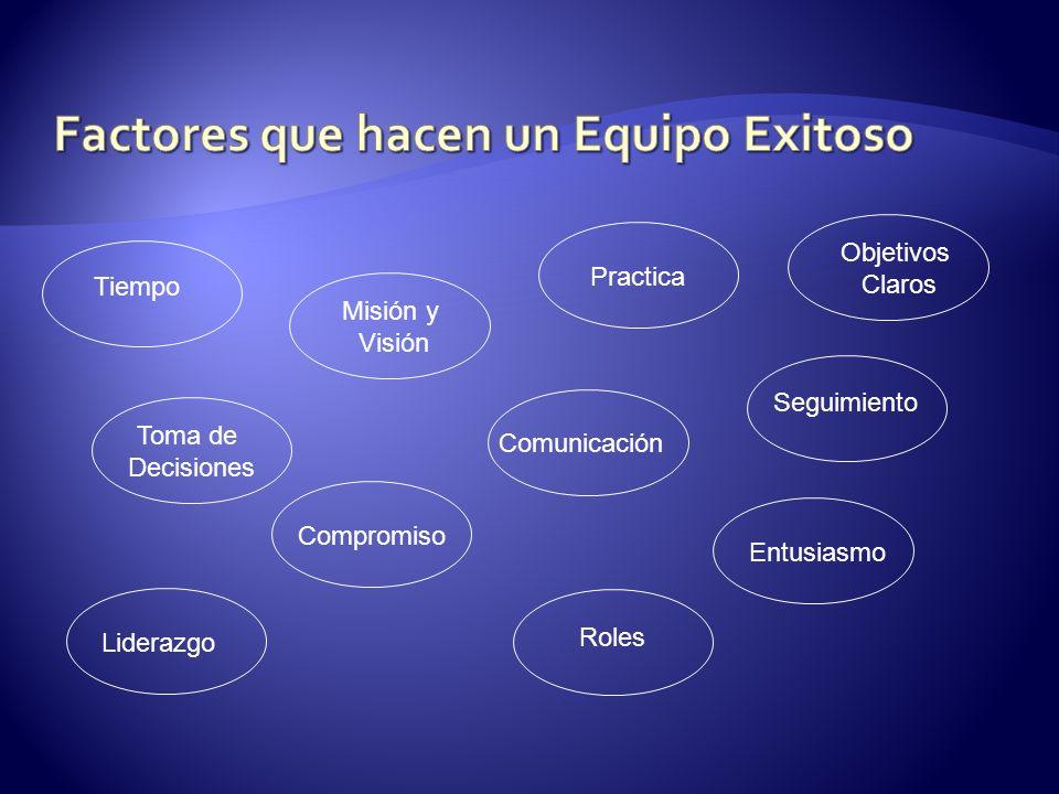 Tiempo Misión y Visión Practica Objetivos Claros Toma de Decisiones Comunicación Seguimiento Compromiso Liderazgo Roles Entusiasmo