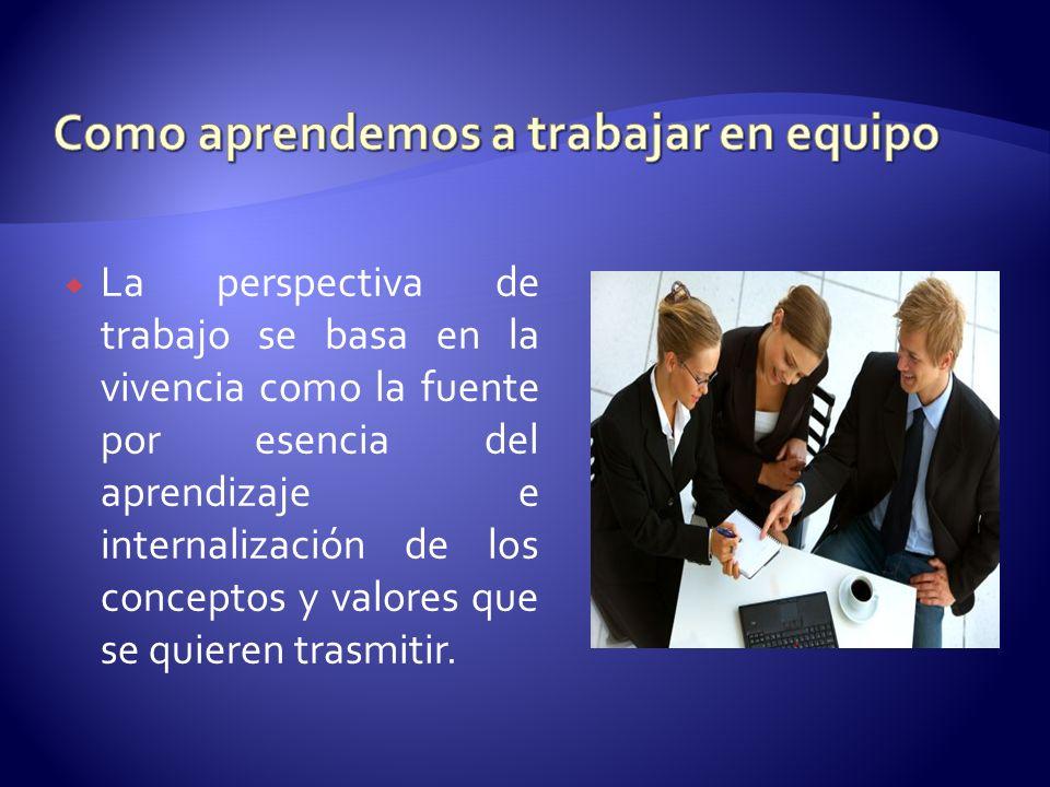La perspectiva de trabajo se basa en la vivencia como la fuente por esencia del aprendizaje e internalización de los conceptos y valores que se quiere