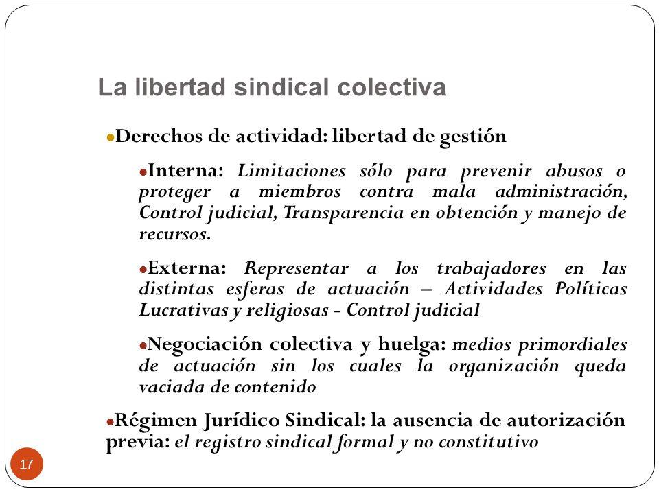 17 Derechos de actividad: libertad de gestión Interna: Limitaciones sólo para prevenir abusos o proteger a miembros contra mala administración, Contro