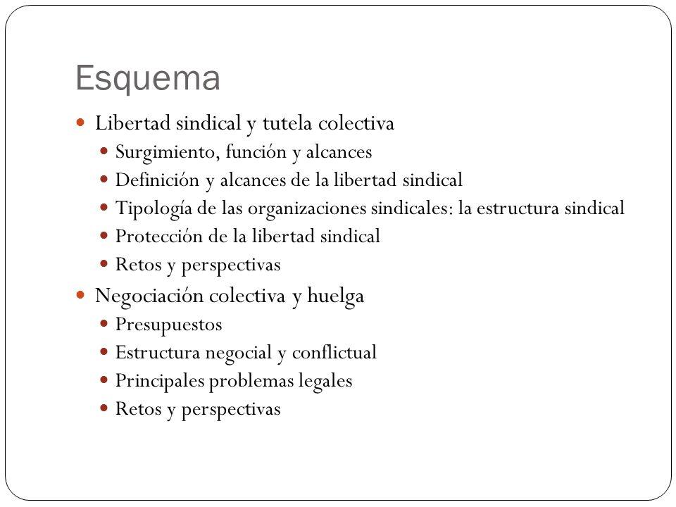 Esquema Libertad sindical y tutela colectiva Surgimiento, función y alcances Definición y alcances de la libertad sindical Tipología de las organizaci