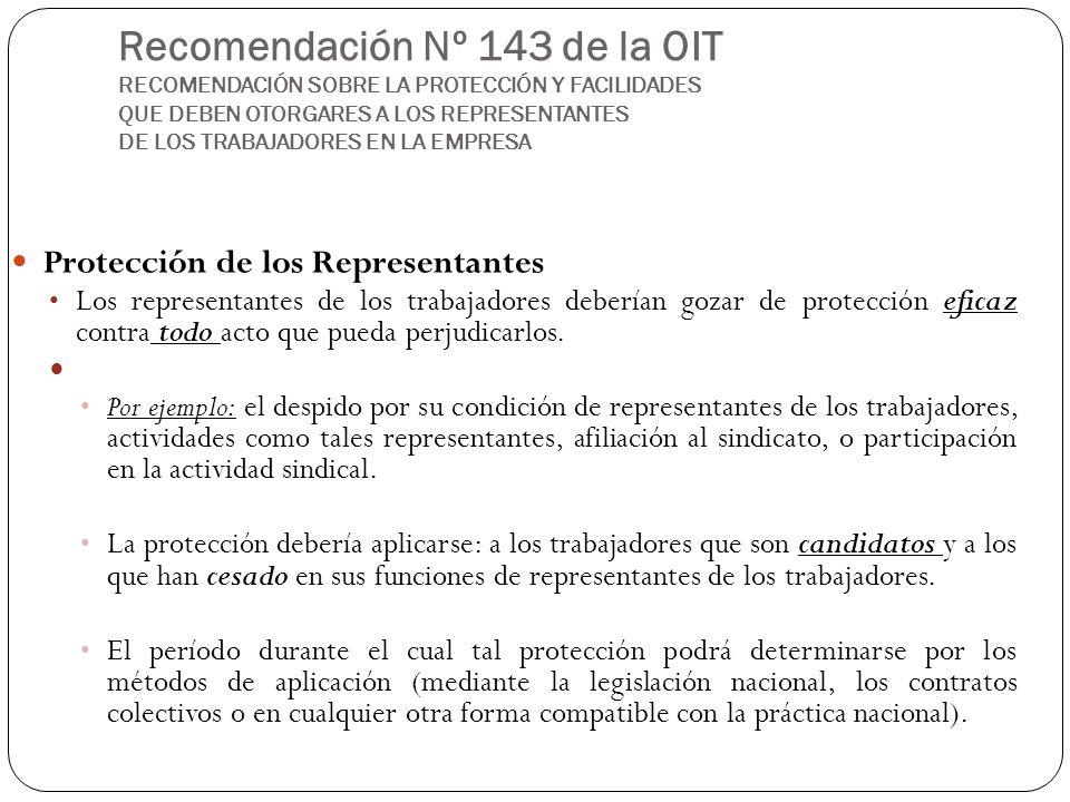Recomendación Nº 143 de la OIT RECOMENDACIÓN SOBRE LA PROTECCIÓN Y FACILIDADES QUE DEBEN OTORGARES A LOS REPRESENTANTES DE LOS TRABAJADORES EN LA EMPR