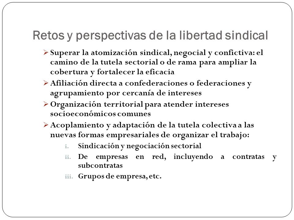 Retos y perspectivas de la libertad sindical Superar la atomización sindical, negocial y confictiva: el camino de la tutela sectorial o de rama para a