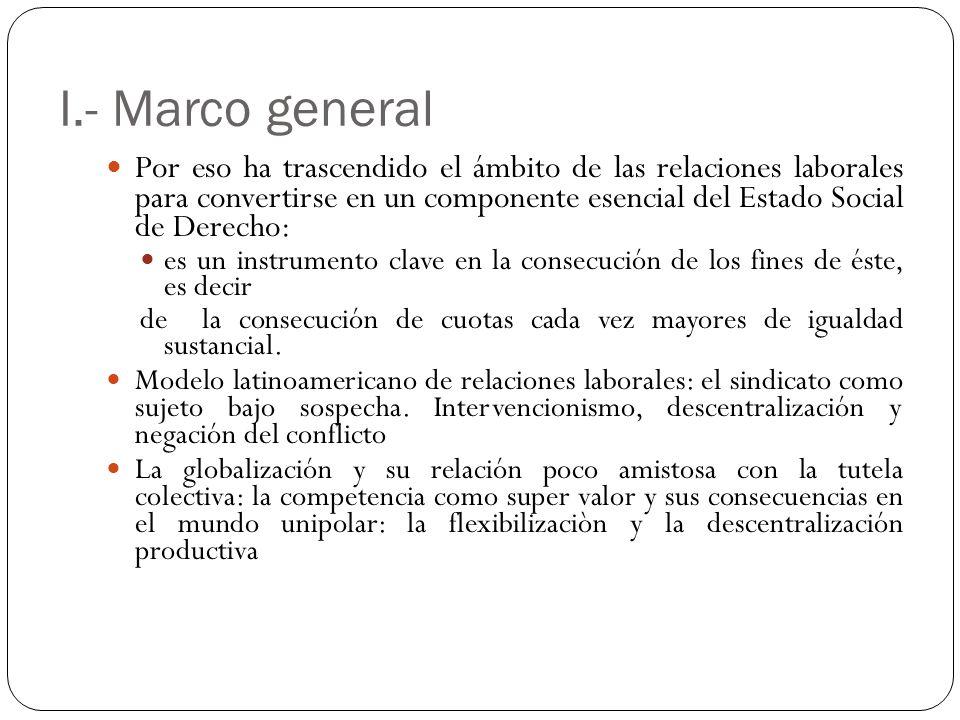I.- Marco general Por eso ha trascendido el ámbito de las relaciones laborales para convertirse en un componente esencial del Estado Social de Derecho