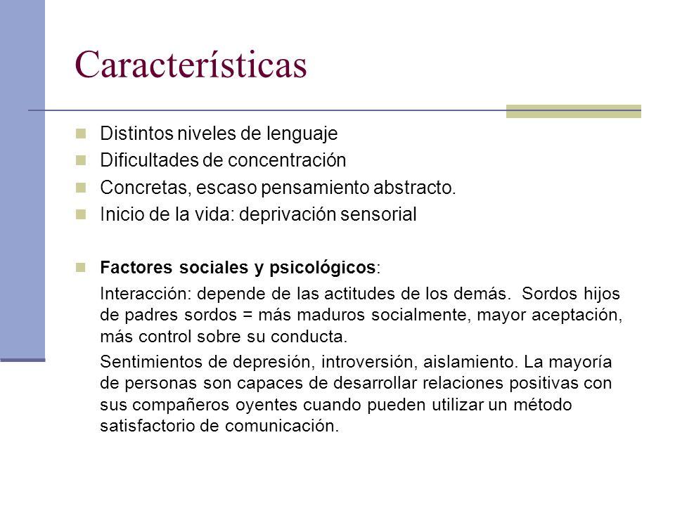 Características Distintos niveles de lenguaje Dificultades de concentración Concretas, escaso pensamiento abstracto. Inicio de la vida: deprivación se