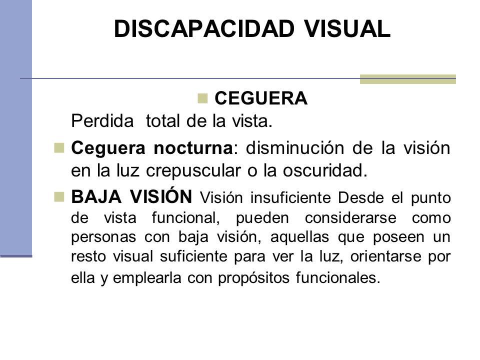 DISCAPACIDAD VISUAL CEGUERA Perdida total de la vista. Ceguera nocturna: disminución de la visión en la luz crepuscular o la oscuridad. BAJA VISIÓN Vi
