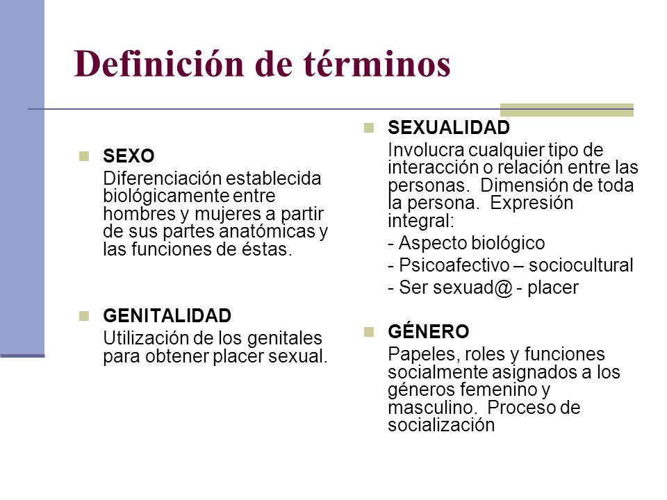 Definición de términos SEXO Diferenciación establecida biológicamente entre hombres y mujeres a partir de sus partes anatómicas y las funciones de ést