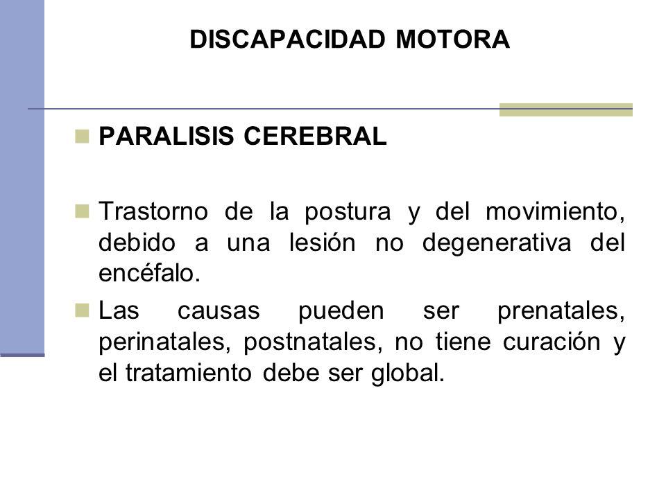 DISCAPACIDAD MOTORA PARALISIS CEREBRAL Trastorno de la postura y del movimiento, debido a una lesión no degenerativa del encéfalo. Las causas pueden s