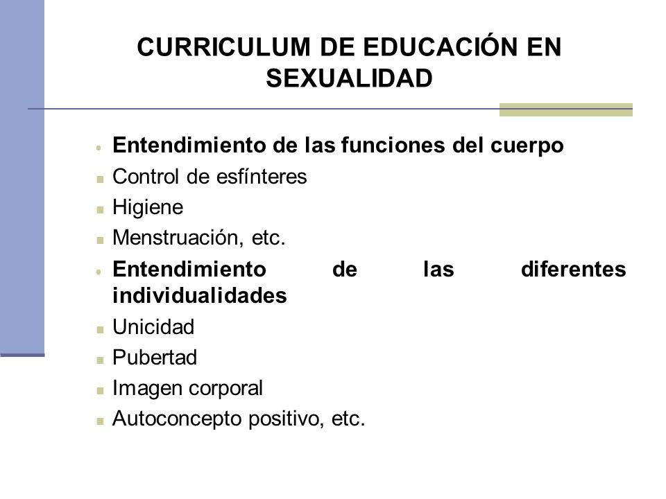 CURRICULUM DE EDUCACIÓN EN SEXUALIDAD Entendimiento de las funciones del cuerpo Control de esfínteres Higiene Menstruación, etc. Entendimiento de las