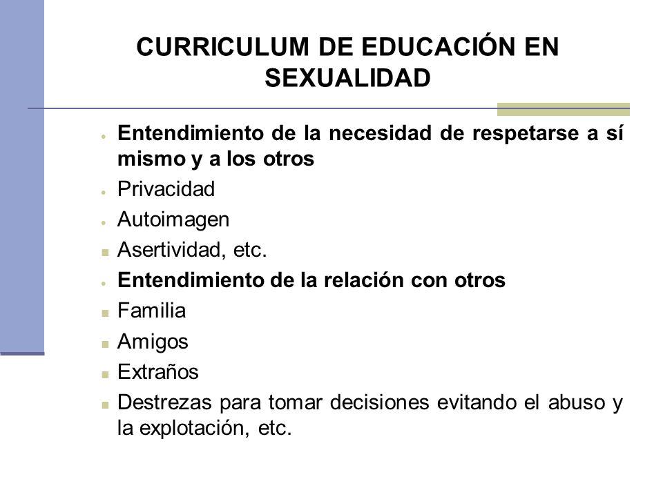 CURRICULUM DE EDUCACIÓN EN SEXUALIDAD Entendimiento de la necesidad de respetarse a sí mismo y a los otros Privacidad Autoimagen Asertividad, etc. Ent