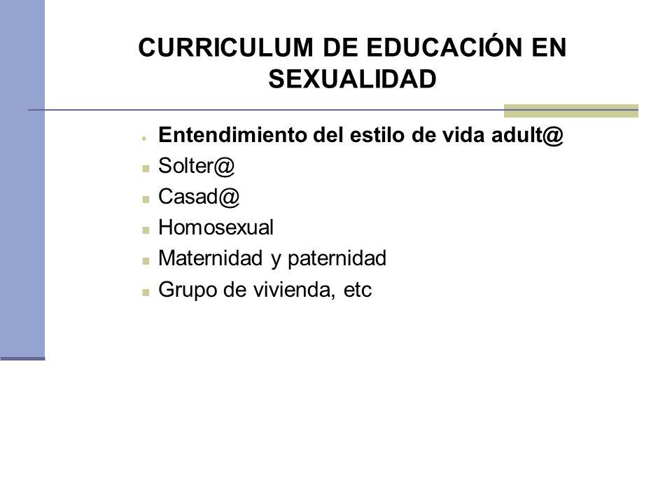 CURRICULUM DE EDUCACIÓN EN SEXUALIDAD Entendimiento del estilo de vida adult@ Solter@ Casad@ Homosexual Maternidad y paternidad Grupo de vivienda, etc