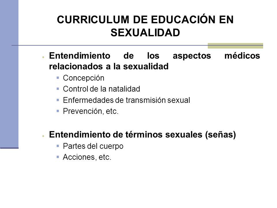 CURRICULUM DE EDUCACIÓN EN SEXUALIDAD Entendimiento de los aspectos médicos relacionados a la sexualidad Concepción Control de la natalidad Enfermedad