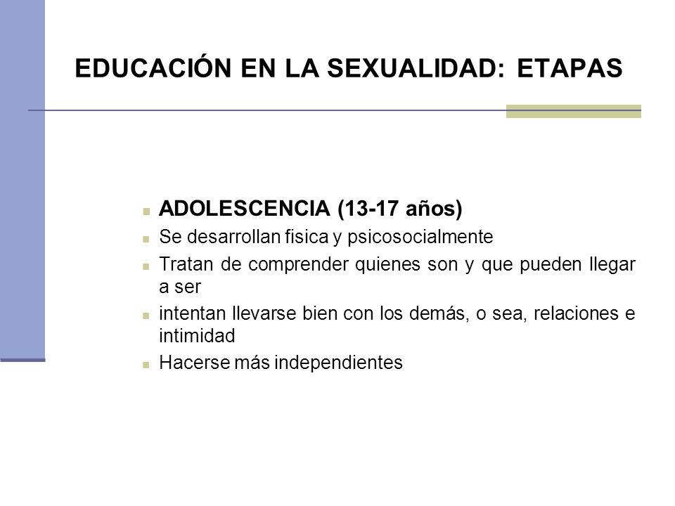 EDUCACIÓN EN LA SEXUALIDAD: ETAPAS ADOLESCENCIA (13-17 años) Se desarrollan fisica y psicosocialmente Tratan de comprender quienes son y que pueden ll