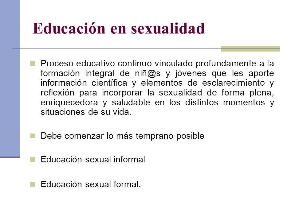 Educación en sexualidad Proceso educativo continuo vinculado profundamente a la formación integral de niñ@s y jóvenes que les aporte información cient