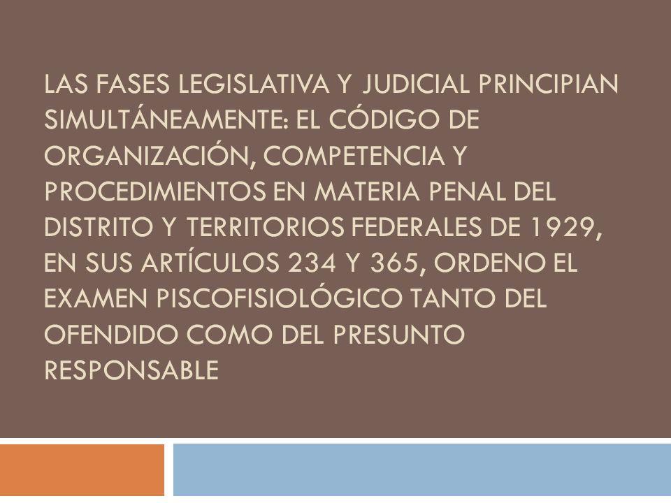 LAS FASES LEGISLATIVA Y JUDICIAL PRINCIPIAN SIMULTÁNEAMENTE: EL CÓDIGO DE ORGANIZACIÓN, COMPETENCIA Y PROCEDIMIENTOS EN MATERIA PENAL DEL DISTRITO Y T