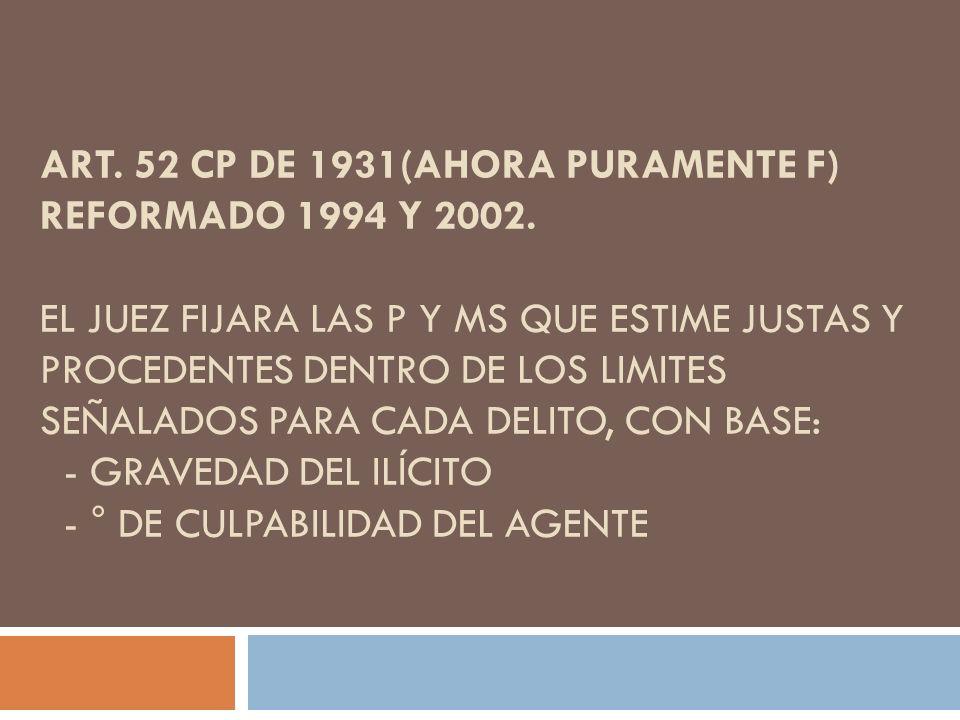 ART. 52 CP DE 1931(AHORA PURAMENTE F) REFORMADO 1994 Y 2002. EL JUEZ FIJARA LAS P Y MS QUE ESTIME JUSTAS Y PROCEDENTES DENTRO DE LOS LIMITES SEÑALADOS