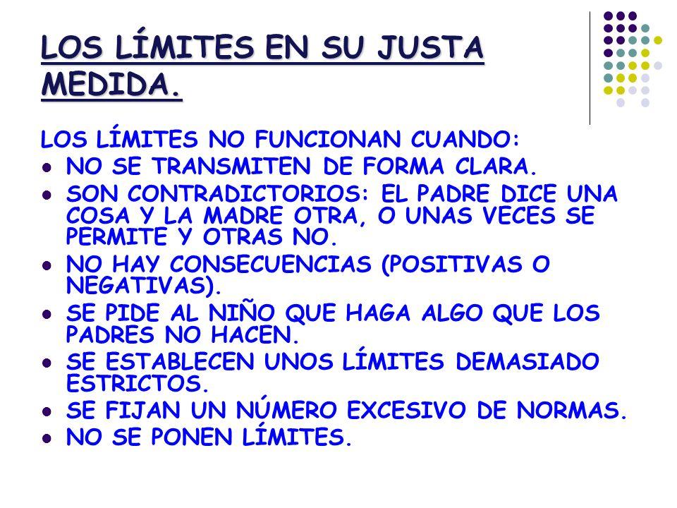 LOS LÍMITES EN SU JUSTA MEDIDA.LOS LÍMITES NO FUNCIONAN CUANDO: NO SE TRANSMITEN DE FORMA CLARA.