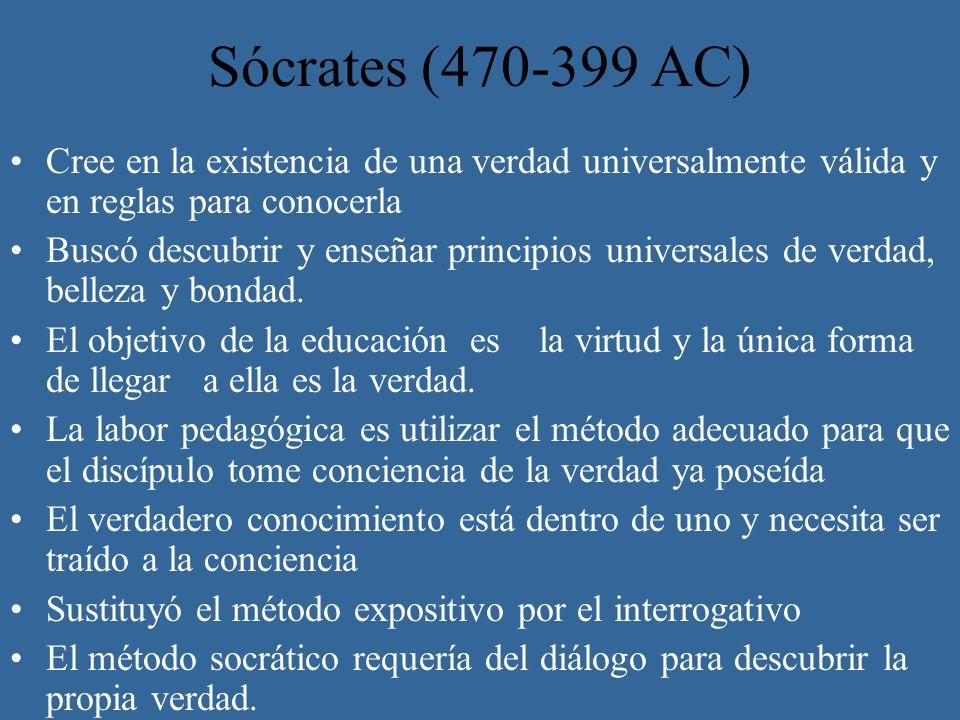Sócrates (470-399 AC) Cree en la existencia de una verdad universalmente válida y en reglas para conocerla Buscó descubrir y enseñar principios univer