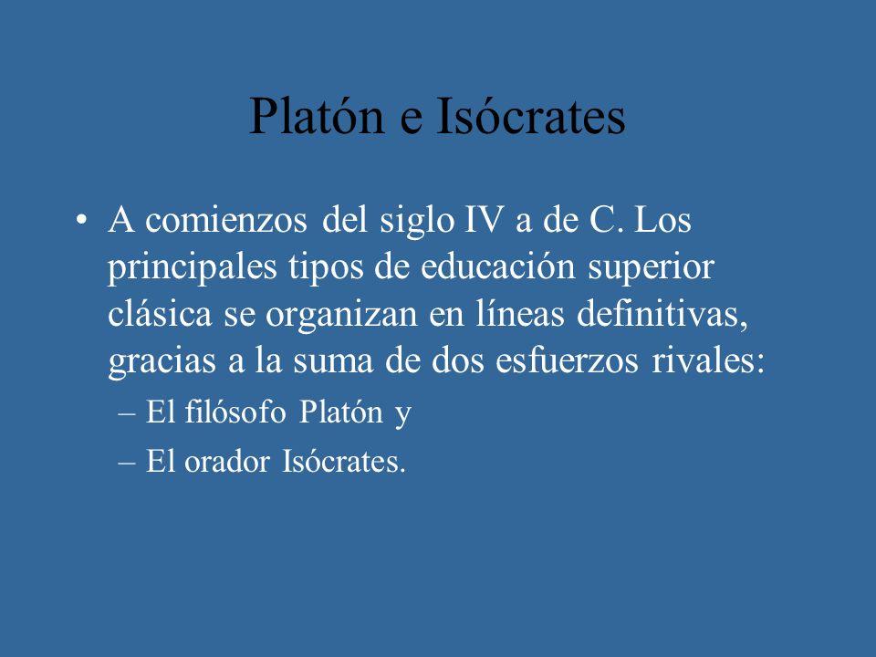 Platón e Isócrates A comienzos del siglo IV a de C. Los principales tipos de educación superior clásica se organizan en líneas definitivas, gracias a