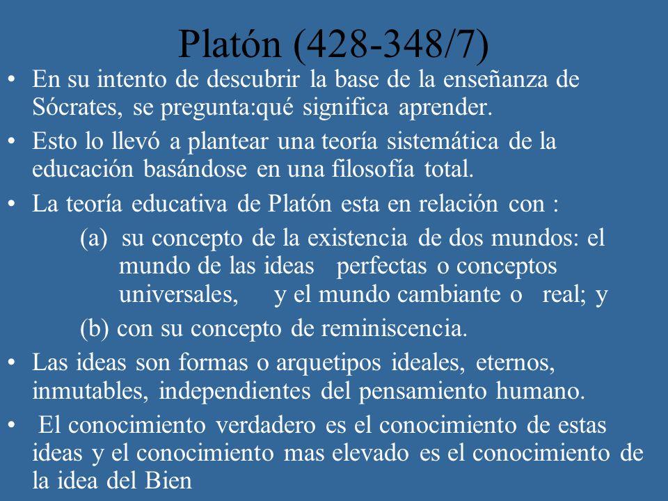Platón (428-348/7) En su intento de descubrir la base de la enseñanza de Sócrates, se pregunta:qué significa aprender. Esto lo llevó a plantear una te