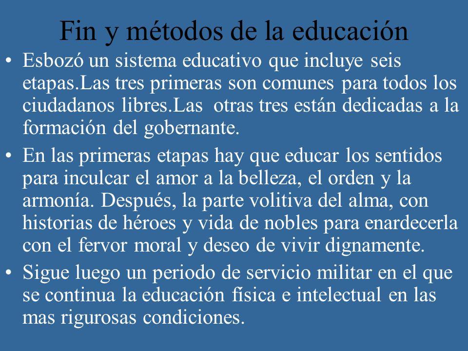 Fin y métodos de la educación Esbozó un sistema educativo que incluye seis etapas.Las tres primeras son comunes para todos los ciudadanos libres.Las o