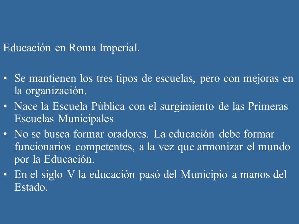 Educación en Roma Imperial. Se mantienen los tres tipos de escuelas, pero con mejoras en la organización. Nace la Escuela Pública con el surgimiento d