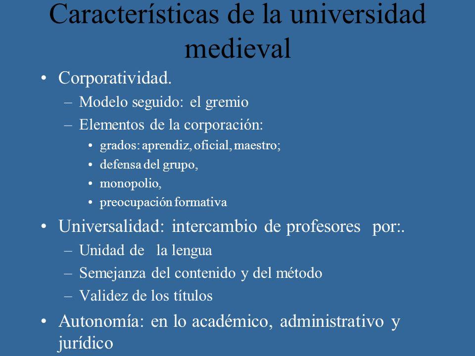Características de la universidad medieval Corporatividad. –Modelo seguido: el gremio –Elementos de la corporación: grados: aprendiz, oficial, maestro