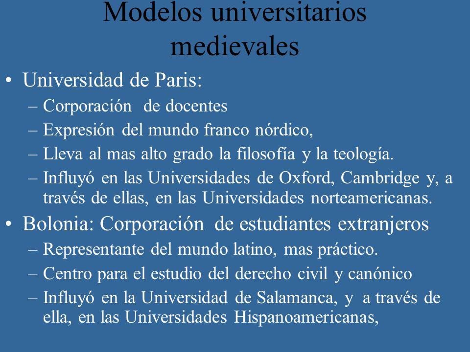Modelos universitarios medievales Universidad de Paris: –Corporación de docentes –Expresión del mundo franco nórdico, –Lleva al mas alto grado la filo