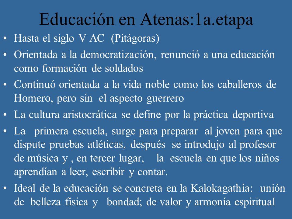 Educación en Atenas:1a.etapa Hasta el siglo V AC (Pitágoras) Orientada a la democratización, renunció a una educación como formación de soldados Conti